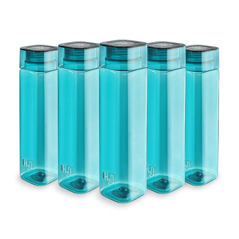 Cello H2O Squaremate Plastic Water Bottle, 1-Liter, Set of 5, Green