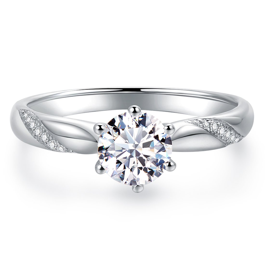 Stunning Flame Solitaire Engagement Ring Cubic Zirconia CZ in White Gold Plated Sterling Silver for Women   Excellent Cut, D Color, FL Clarity & Exquisite Polish   Size 7 by Raneecoco