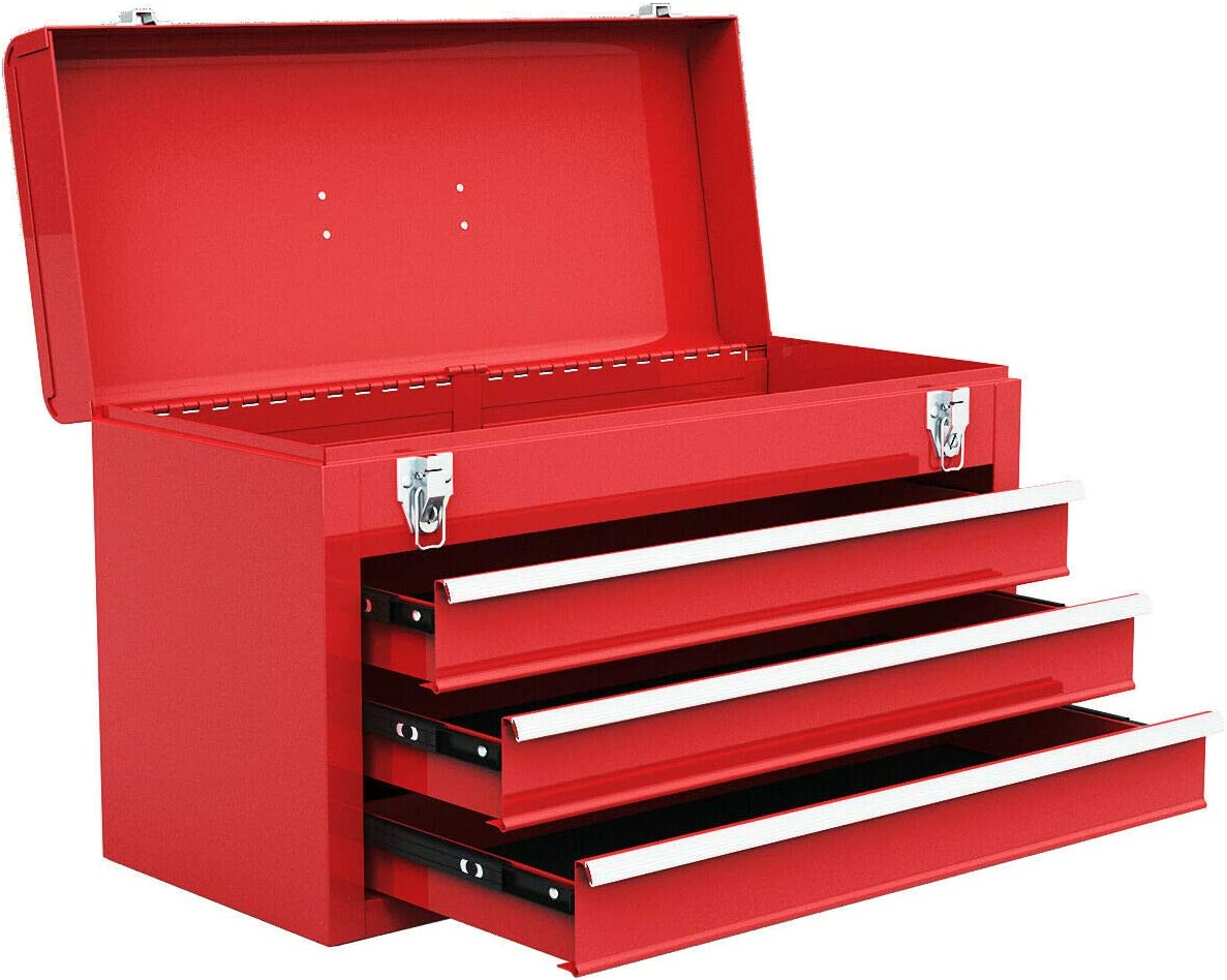 Goplus Tool Chest 20-Inch Portable Tool Box Steel Cabinet w 3 Drawers and Top Tray, Red