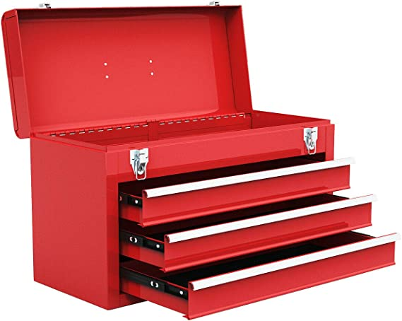 Goplus Tool Chest 20-Inch Portable Tool Box Steel Cabinet w/ 3 Drawers and Top tray