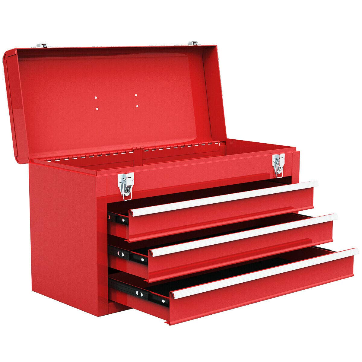Goplus Tool Chest 20-Inch Portable Tool Box Steel Cabinet w/ 3 Drawers and Top tray, Red by Goplus