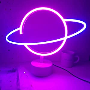 Momkids Planet Light Neon Signs Led Desk Decor Led Neon Sign Night Light with Base Battery USB Operated Neon Lights for Bedroom Kids Room Table Birthday Party (Blue Pink Planet)