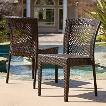 This Item Dana Point Outdoor Patio Furniture Brown Wicker Chairs (Set Of 2)