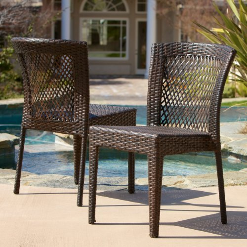 Dana Point Outdoor Patio Furniture Brown Wicker Chairs Set of 2