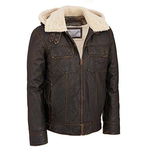Wilsons Leather Mens Vintage Leather Bomber Jacket W/Faux ...