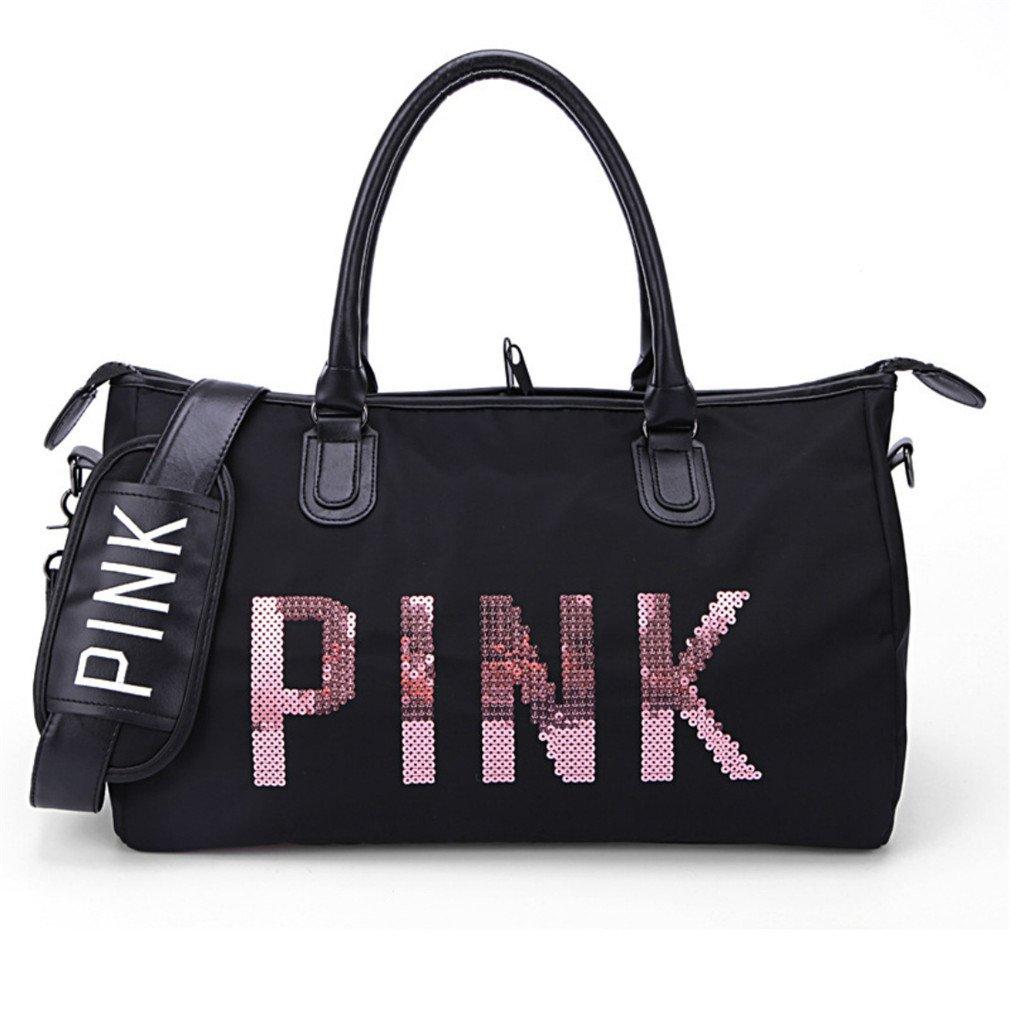Breadaye Black Sequins Love PINK Duffle Bag VS Women Gym Bags Tote Handbag Secret Travel Shoulder Bags L 46X35X18CM