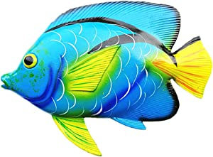11inches Large Tropical Fish Wall Art Decor Sculpture Hanging for Indoor Bedroom Living Room Outdoor Garden - Gifts Idea for Best Friends