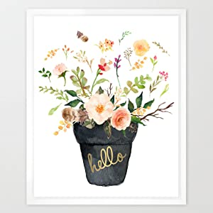 Eleville 8X10 Hello Real Gold Foil and Floral Watercolor Art Print (Unframed) Quote art Welcome print Guest room Decor Home wall art Nursery Decor Motivational Poster Wedding Gifts WG030