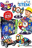Magnetic Building Blocks Toys Set - Tiles Block Toy Kit for Kids - STEM Educational Construction Stacking Shapes - Ferris Wheel and Vehicle Set - 74 pieces