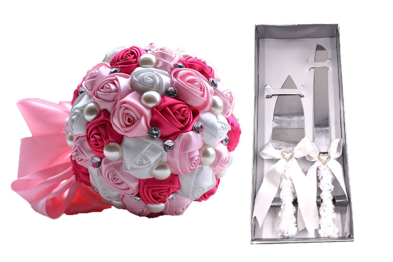 Amazon.com: Abbie Home Wedding Bride Bouquet + Cake Knife Server Set ...