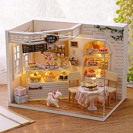 Diy Holzpuppen Haus Handwerk Miniatur Kit Schlafzimmer Modell