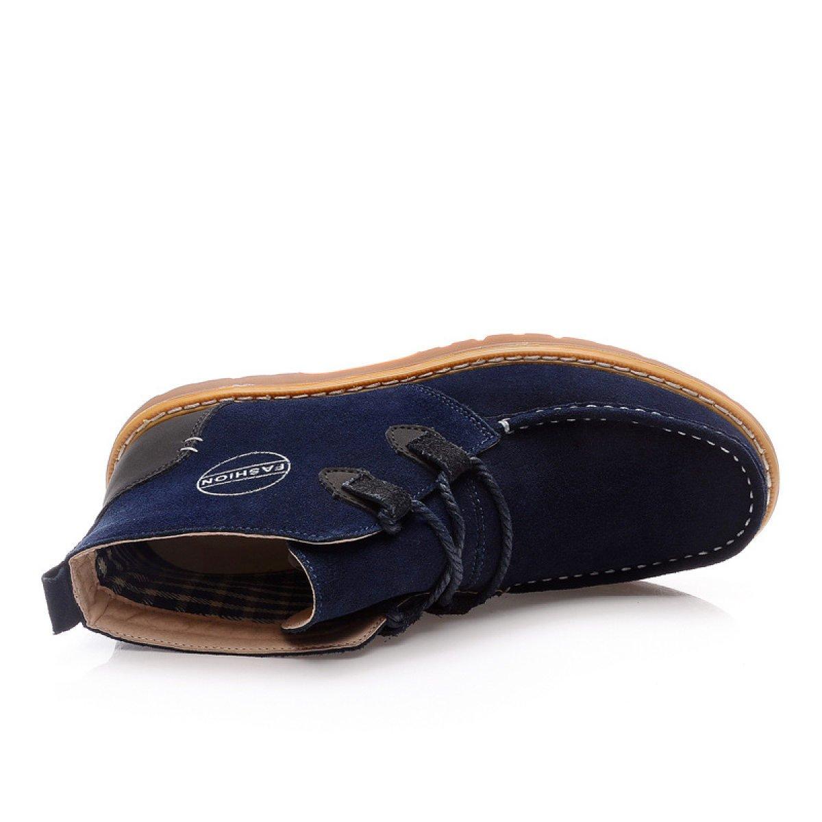 Männer Leder Hohe Hilfe Lässig Rutschfest Herrenschuhe England Stiefel Tragen Rutschfest Lässig Kurze Stiefel Blau cd5209