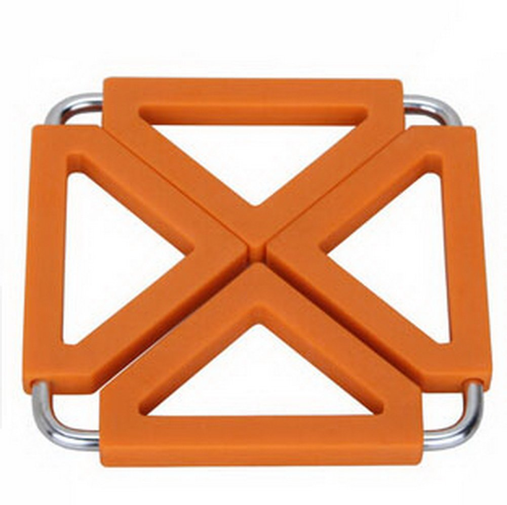 Panda Superstore Square Stainless Steel Silicon Potholders Pot Holder,Heat-proof Mat(orange)