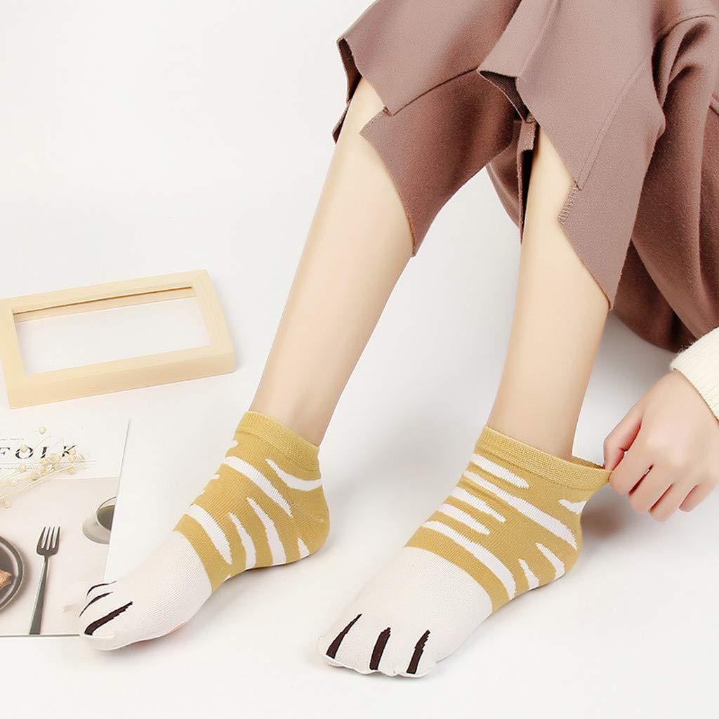 Calcetines Cortos De Las Mujeres Populares Calcetines Lindos De Las Patas Del Gato Paw Prints On Toes Calcetines De Mujer