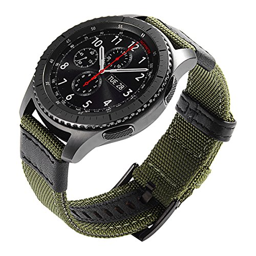 Gear S3 Bands Nylon, Maxjoy S3 Frontier Classic Band 22 mm Woven Nylon Replacement Strap Large Sport Wristband Bracelet with Stainless Steel Metal Buckle for Samsung Gear S3 Smart Watch, Army Green by Maxjoy (Image #2)