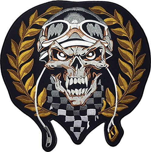 [Large Size] Papapatch Speed Skull Checkered Flag Victory Winner Racing Biker Rider Motorcycle Jacket Vest Costume Embroidered Sew on Iron on Patch (IRON-SPEED-SKULL-LARGE)