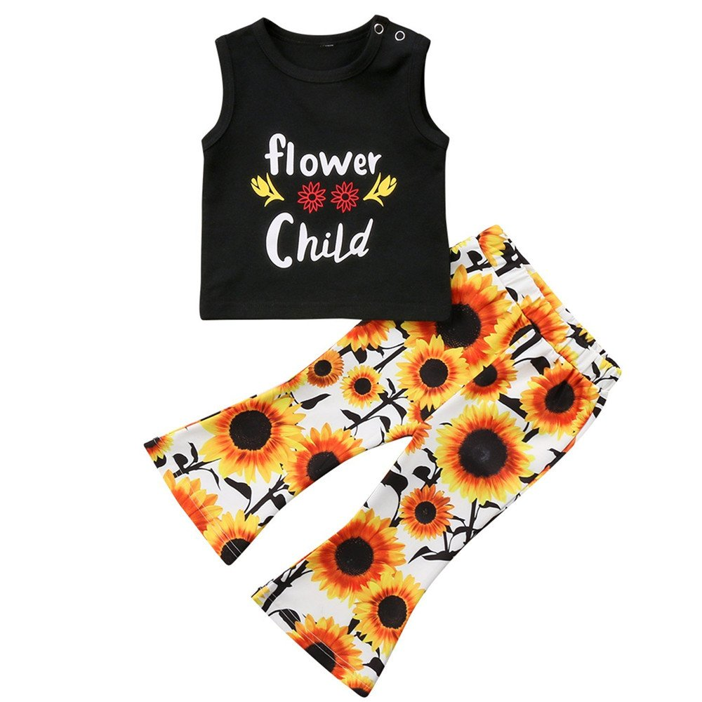 66187943f2ee 【Fashion Style】:Toddler baby girl summer clothes flower child T-Shirt tops  + sunflower flares pants outfit set.