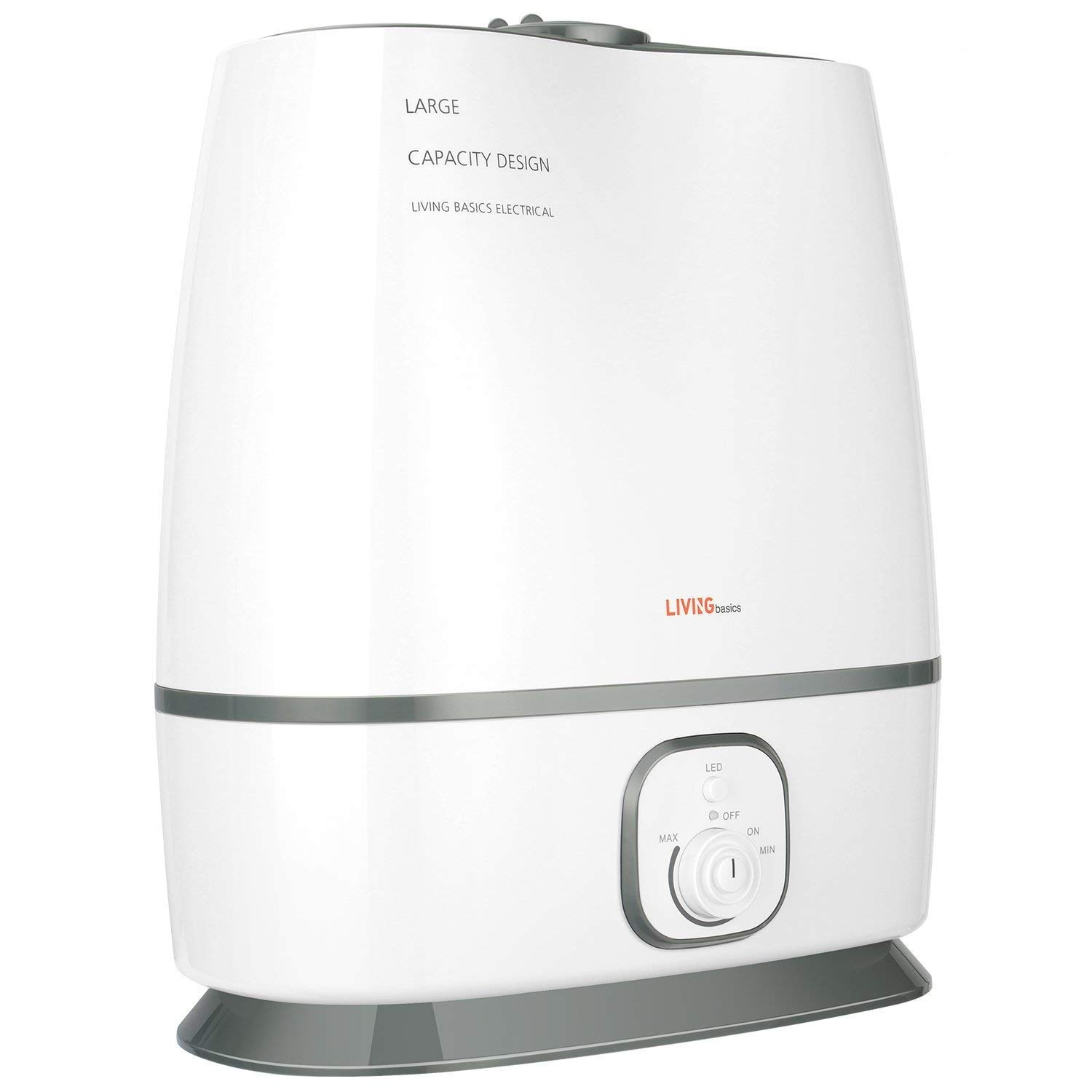LIVINGbasics Ultrasonic Humidifiers, Cool Mist Humidifier with Filter Stepless Control, Large Capacity, Adjustable Mist, for Home Bedroom Larger Office - Large Capacity, 6L/1.6 Gallon
