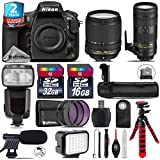 Holiday Saving Bundle for D810 DSLR Camera + 70-200mm f/2.8E VR Lens + 18-140mm VR Lens + Flash with LCD Display + Battery Grip + Shotgun Microphone + LED Kit + 2yr Warranty - International Version