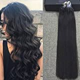 "Full Shine 22"" 1g per Strand 50 Gram Per Pack Micro Loop 100 Real Hair Extensions Color #1B Off Black Micro Ring Beads Extensions"