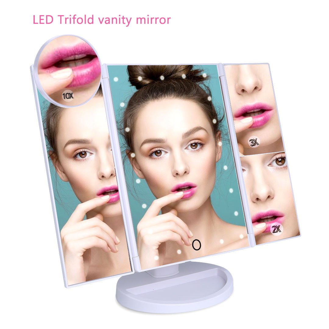 LED Vanity Mirror, Professional Dimmable Trifold Makeup Mirror with 21 Led Lights, Touch Screen, 1×2×3×10x Magnifying, 180°Adjustable, USB Charging for Cosmetic Make Up, Bathroom,Lighted-White