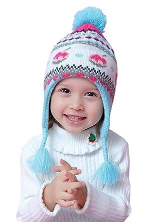 Home Prefer Baby Girls Winter Hat Warm Fleece Knitted Kids Earflap Hat for  Baby (S 6a8ecace0fd