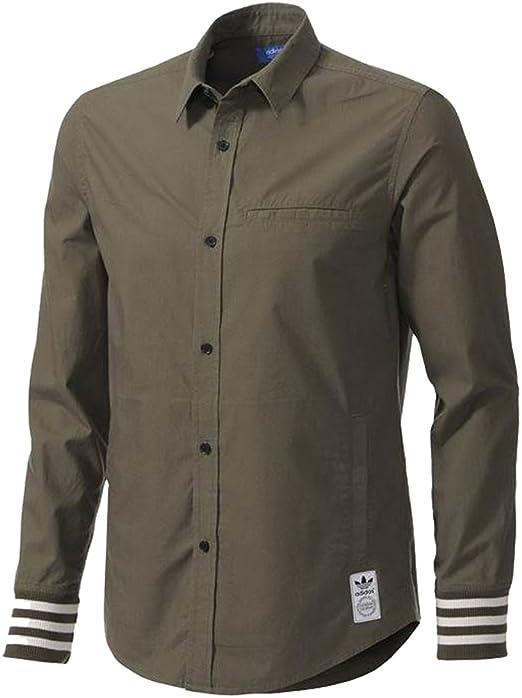 adidas Camisa Casual - Para Hombre Verde Militar M: Amazon.es: Ropa y accesorios