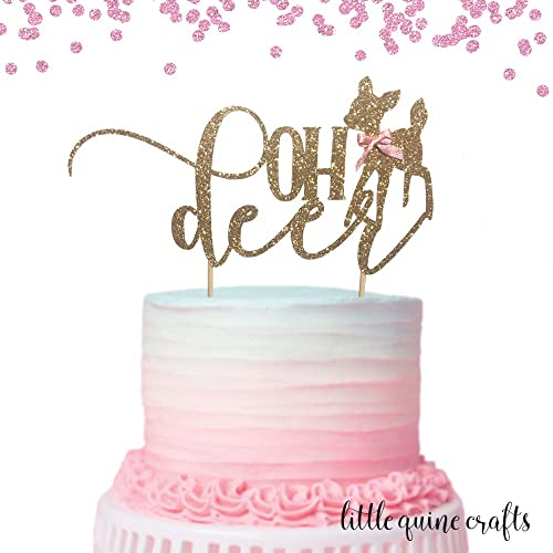 1 Pc Oh Deer Baby Deer Pink Blue Bow Gold Glitter Cake Topper For Baby Shower Boy Girl Bohemian Woodland Animal