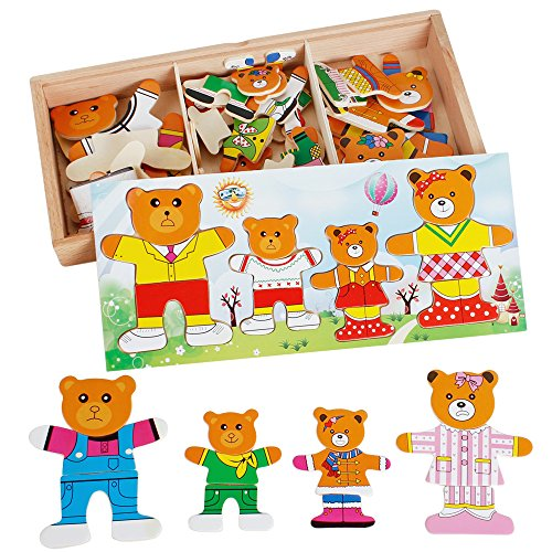 Bear Change Clothes puzzle Wooden Blocks Jigsaw Puzzle Dress Up Clothes Three-dimensional Baby Enlighten Toy for kids Preschool Educational