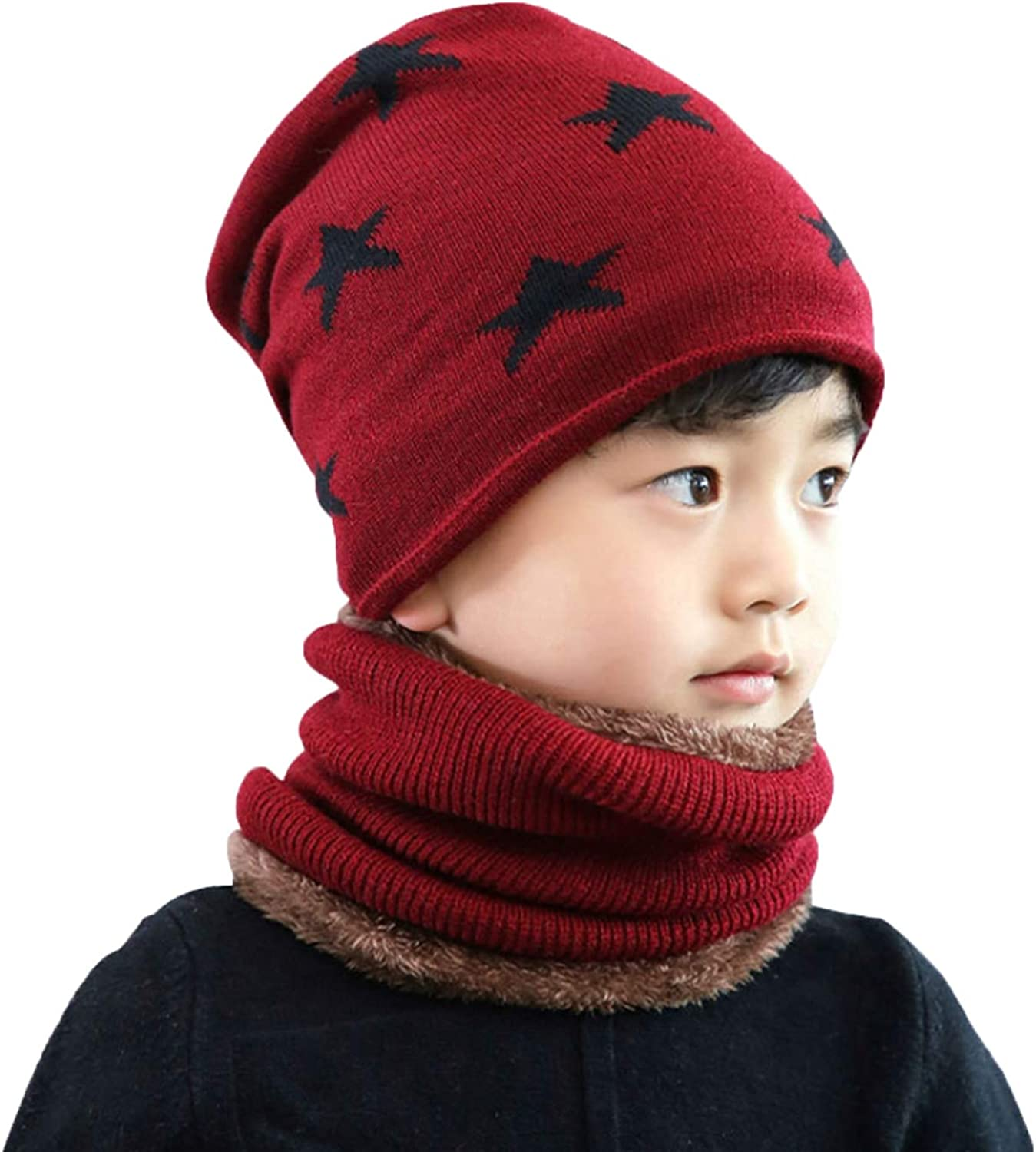2 in 1 Kids Warm Knitted Beanie Hat and Circle Scarf Set Fleece Lined Thermal Necker Cheif for Boys and Girls