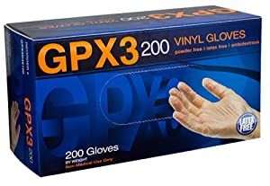 AMMEX - GPX3D42100-BX- Vinyl Gloves - GPX3D - Disposable, Powder Free, Industrial, 3 mil, Small, Clear (Box of 200)