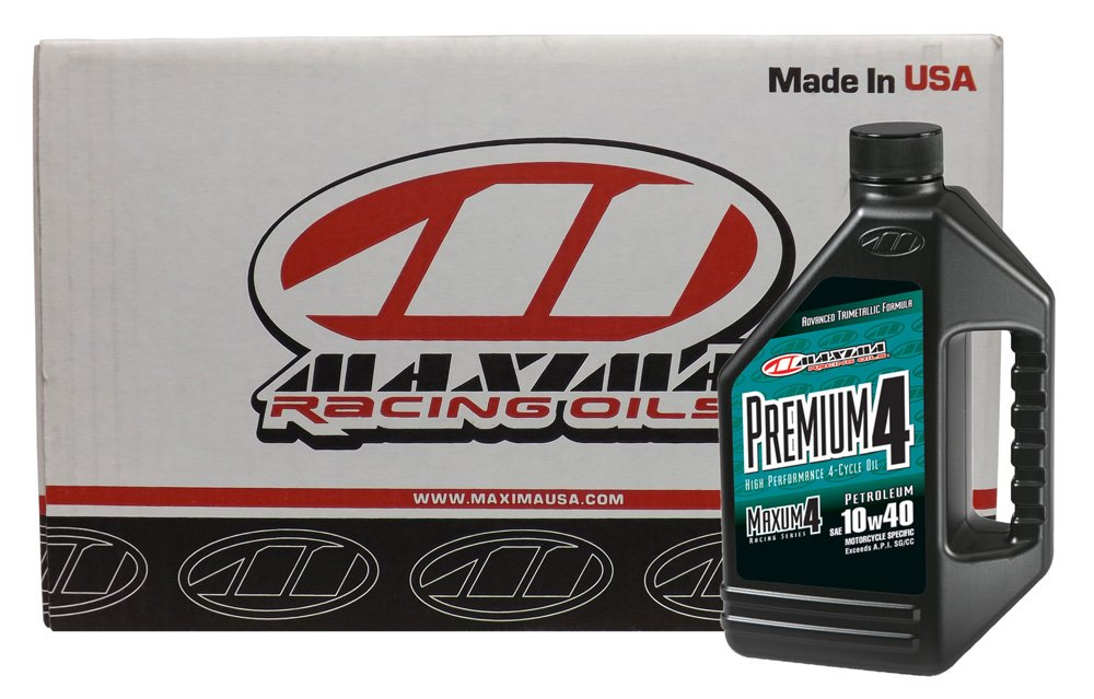 Maxima CS349128-4PK Premium4 10W-40 Motorcycle Engine Oil - 1 Gallon Jug, (Case of 4) by Maxima