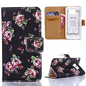 E D World Newly Listed Deluxe Synthetic Leather Case with Stand Wallet Card Slots for Samsung Galaxy S6 G920 - Seamless Roses