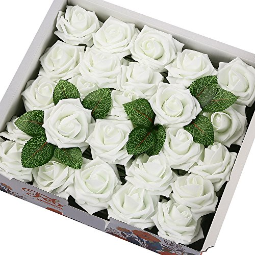 (Febou Artificial Flowers, 50pcs Real Touch Artificial Foam Roses Decoration DIY for Wedding Bridesmaid Bridal Bouquets Centerpieces, Party Decoration, Home Display (Delicate Type, White))