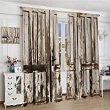 smallbeefly Rustic Room Darkening Curtains Vintage House Entrance with Vertical Old Planks Distressed Rustic Hardwood Design Blackout Draperies For Bedroom 96''x84'' Brown White