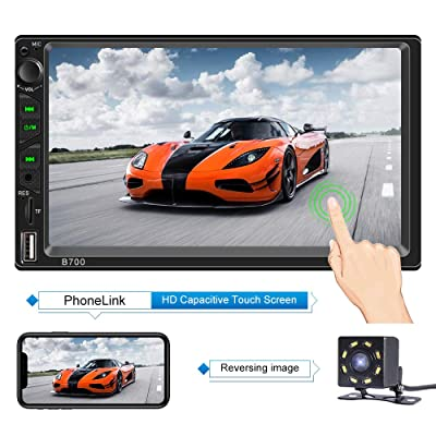 Double Din Car Stereo with Bluetooth 7 Inch Capacitive Touch Screen Car Stereo with Backup Camera Car Stereo with mirrorlink Car Radio Support Steering Wheel Control,USB,SD AUX in Functions: Home Audio & Theater