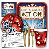 Hollywood Lights Movie Night Theme Party Supplies Set - Serves 8 Guests
