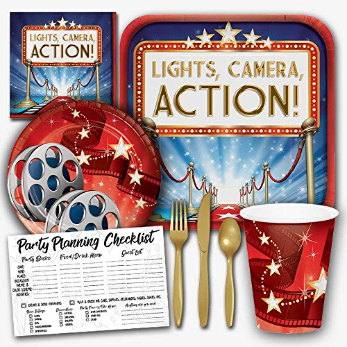 Hollywood Lights Movie Night Theme Party Supplies Set - Serves 8 Guests ()
