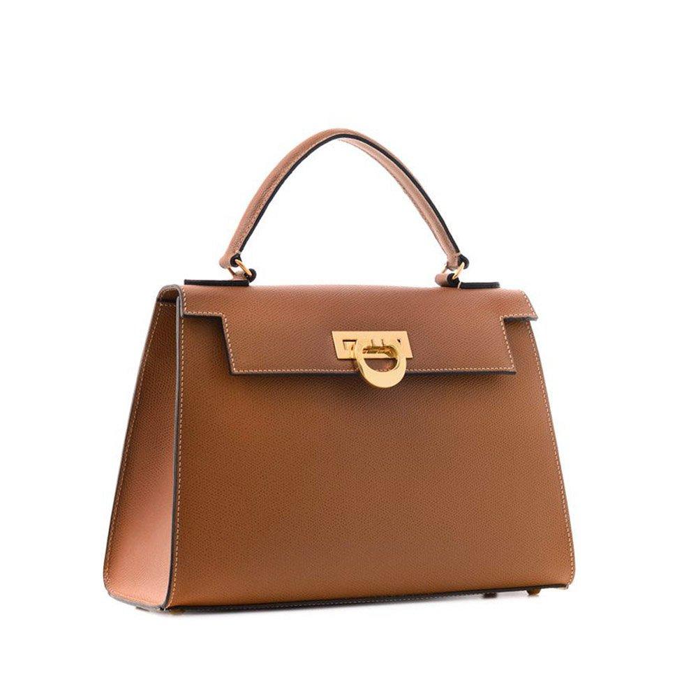 Carbotti Bellino Palmellato Italian Leather Grab Handbag, celebrity, wedding bag - Tan