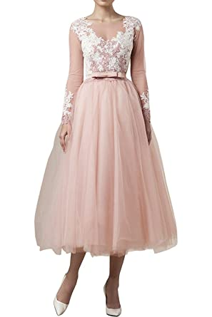 ce6c0cbad98 ABaowedding Women s Pink Long Sleeves Tea Length Wedding Dress Bridal Gown  ...
