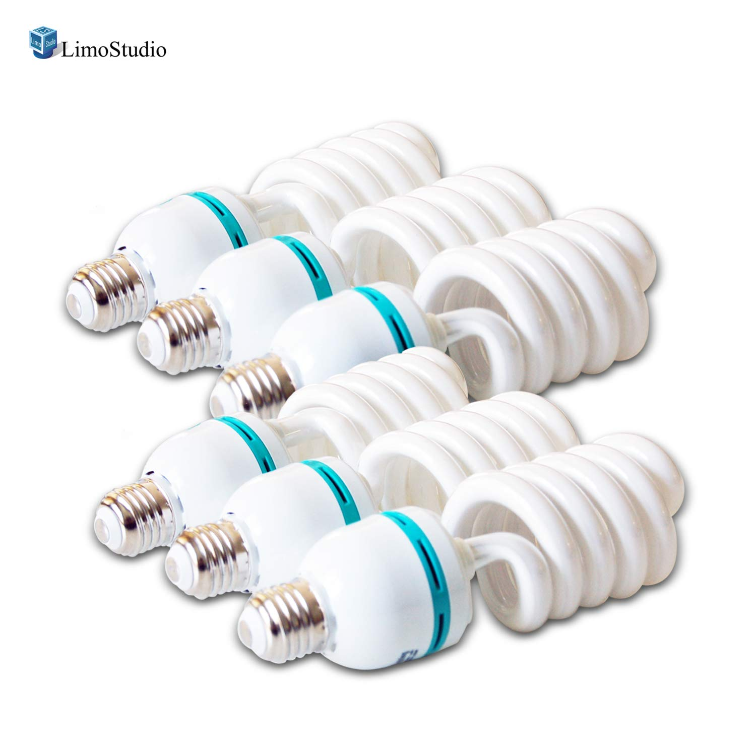 LimoStudio [6-Pack] 45W Full Spectrum Spiral Photo Light Bulb, Energy Saving 6500K Pure White Daylight Balanced CFL Light for Photography and Video, AGG2707
