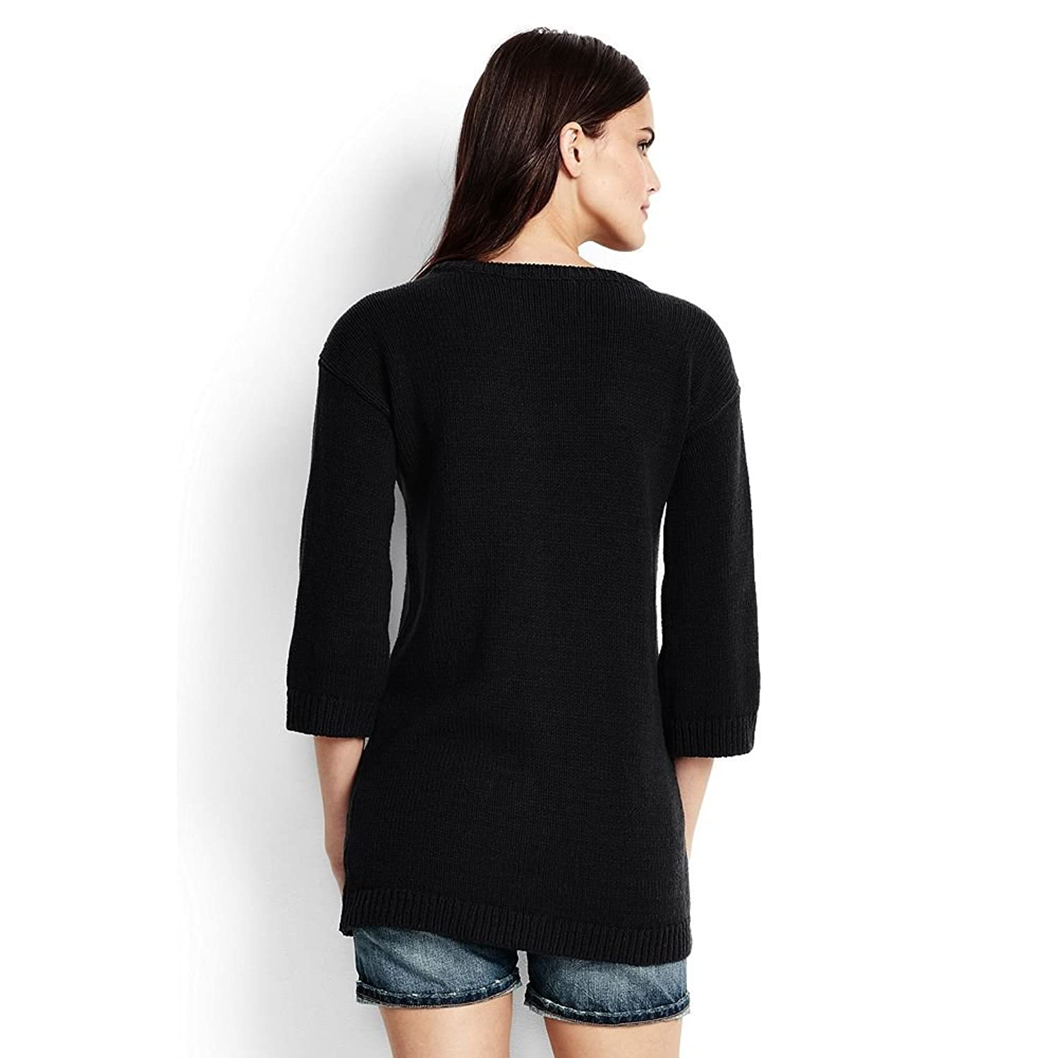 Canvas by Lands' End Women's Lofty Tunic Sweater, Black