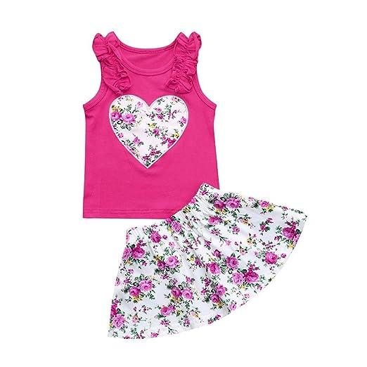 45ba8dbeb Toddler Baby Girls Heart Print Ruffles Sundress Clothes Tank Tops+Floral  Princess Skirt Sets (