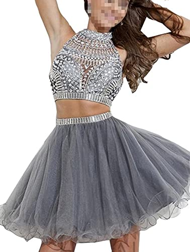 Snow Lotus Women's Two Pieces Gray Rhinestones and High Neck Short Prom Gown
