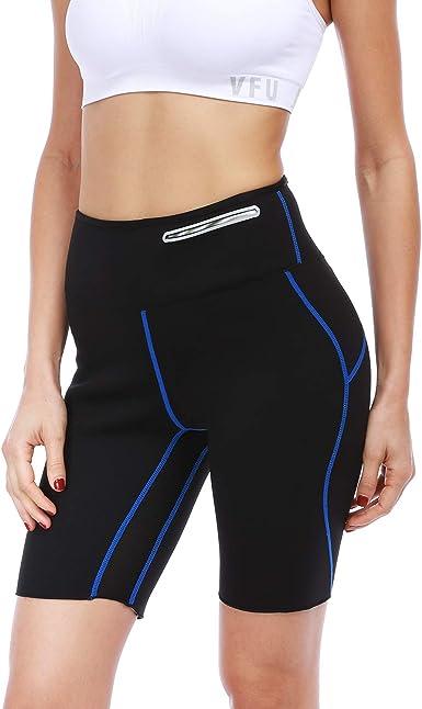 Amazon Com Fitst4 Pantalones Cortos De Neopreno Para Mujer Para Sauna Caliente Mas Finos Pantalones Termales Con Entrepierna De Malla Y Bolsillo Oculto Elegante Xl Clothing