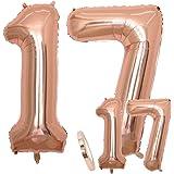 2 Globos Número 17,Number17 Globo Chica de oro rosa, 40 ...
