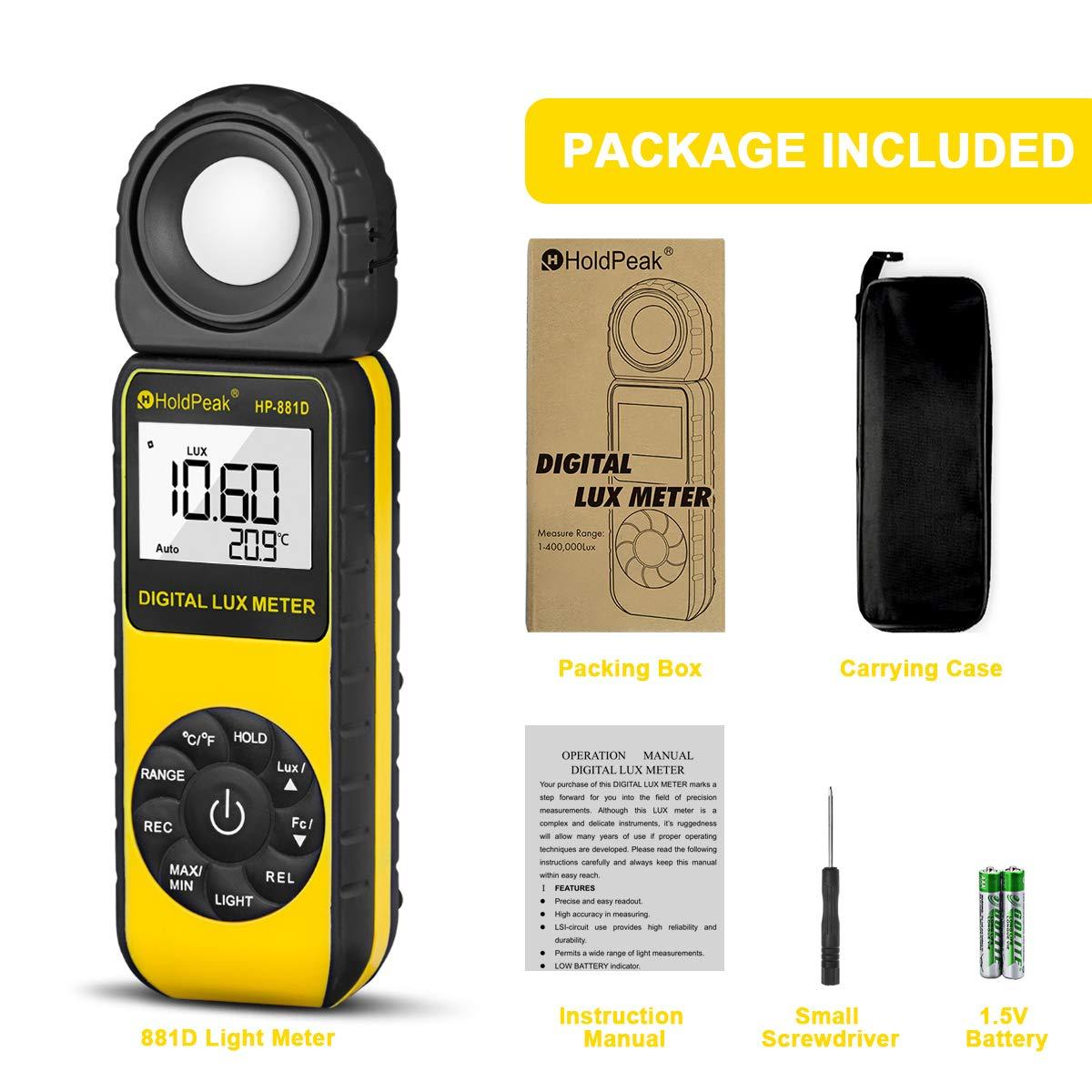 1-40,000 FC,Misurare Temperatura,LCD Retroilluminato,Batteria Inclusa HoldPeak 881D Misuratori di luce,Luxmetro Digitale,Misuratori di luce 0.1-400,000 Lux