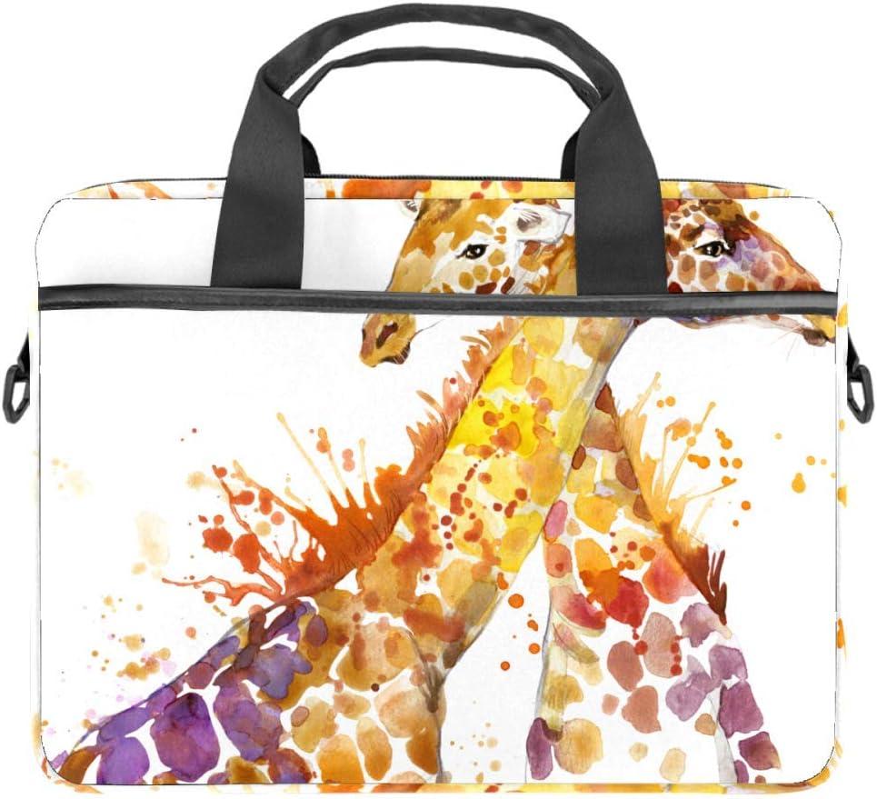 Giraffe Watercolor illustrationLaptop Case Canvas Pattern Briefcase Sleeve Laptop Shoulder Messenger Bag Case Sleeve for 13.4-14.5 inch Apple Laptop Briefcase
