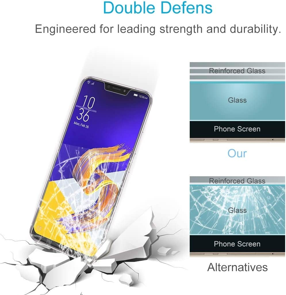 ZENGMING Tempered Glass Film Screen Protector 100 PCS 0.26mm 9H 2.5D Tempered Glass Film for Asus Zenfone 5z ZS620KL Anti-Scratch