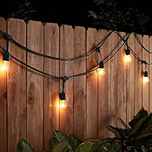 AmazonBasics Weatherproof Outdoor Patio String Lights S14 Bulb, Black, 48'